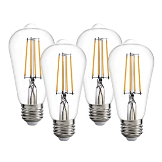 LED Edison Bulb 60W Replacement, Vintage Light Bulb, LED Filament Bulb ST58 ST19, 7W 800lm, Dimmable E26 Base, Clear,2700K,AC120V (Pack of 4)