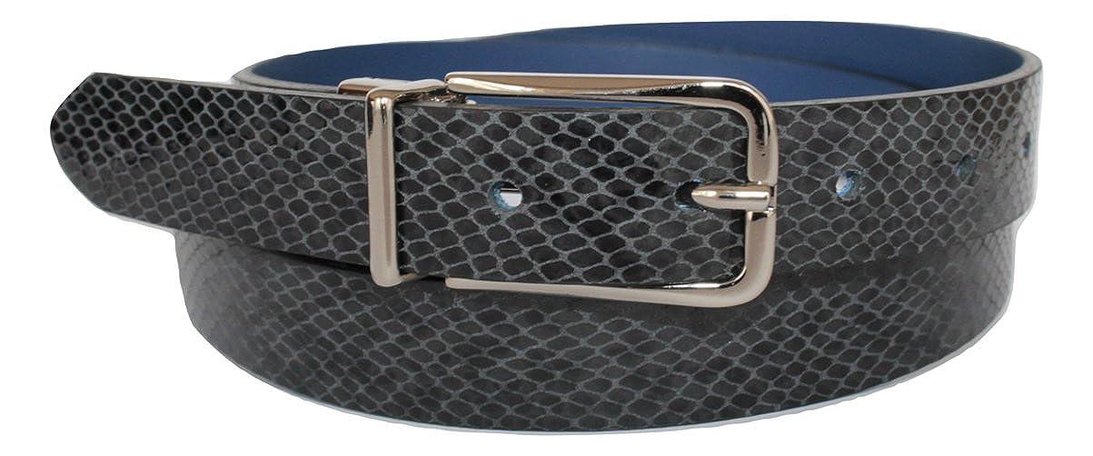 Double Face Accorciabile Effetto Serpente Grigio-Nera e Bluette 2,5cm ITALOITALY Cintura in Vera Pelle ca Made in Italy Produzione Artigianale Donna