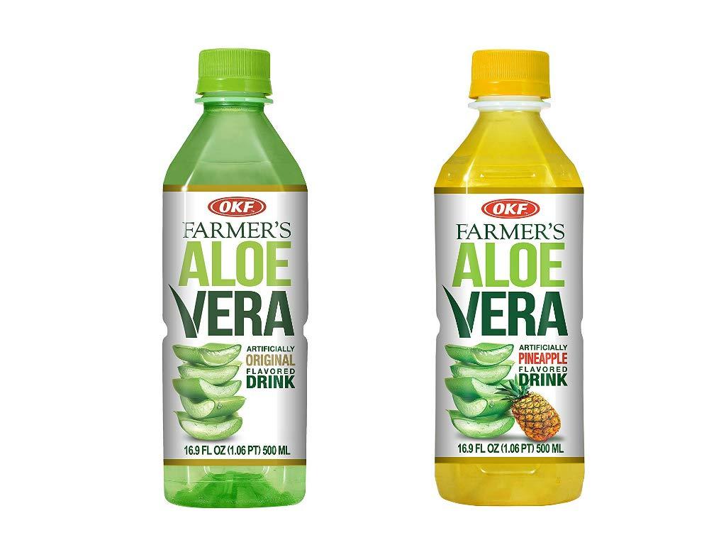 OKF Farmer's Aloe Vera Drink, Original and Pineapple, 16.9 Fluid Ounce (Pack of 20 each)
