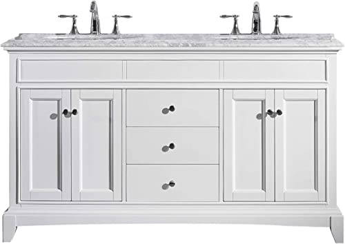 Eviva EVVN709-60WH Elite Stamford 60 White Solid Wood Bathroom Vanity Set with Double OG Carrera Marble Top White Undermount Porcelain Sinks Combination