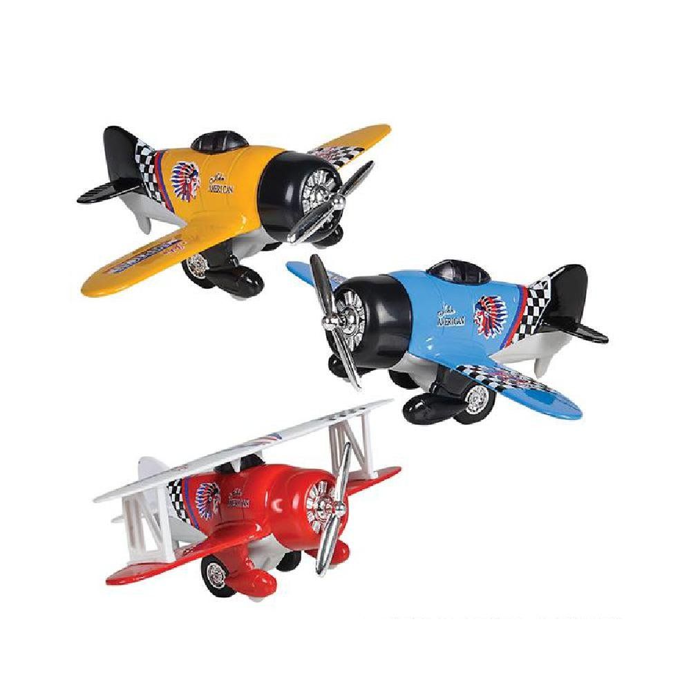 6.5'' Diecast Pullback Biplane (With Sticky Notes)