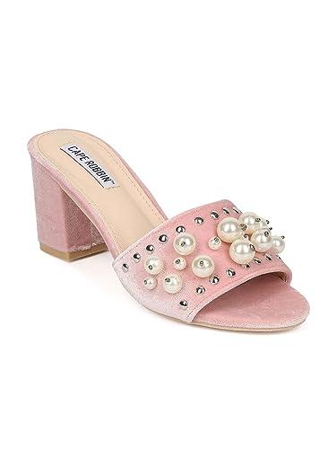 22aade35df5 Alrisco Women Open Toe Faux Pearl Block Heel Slide HB79 - Blush Velvet (Size
