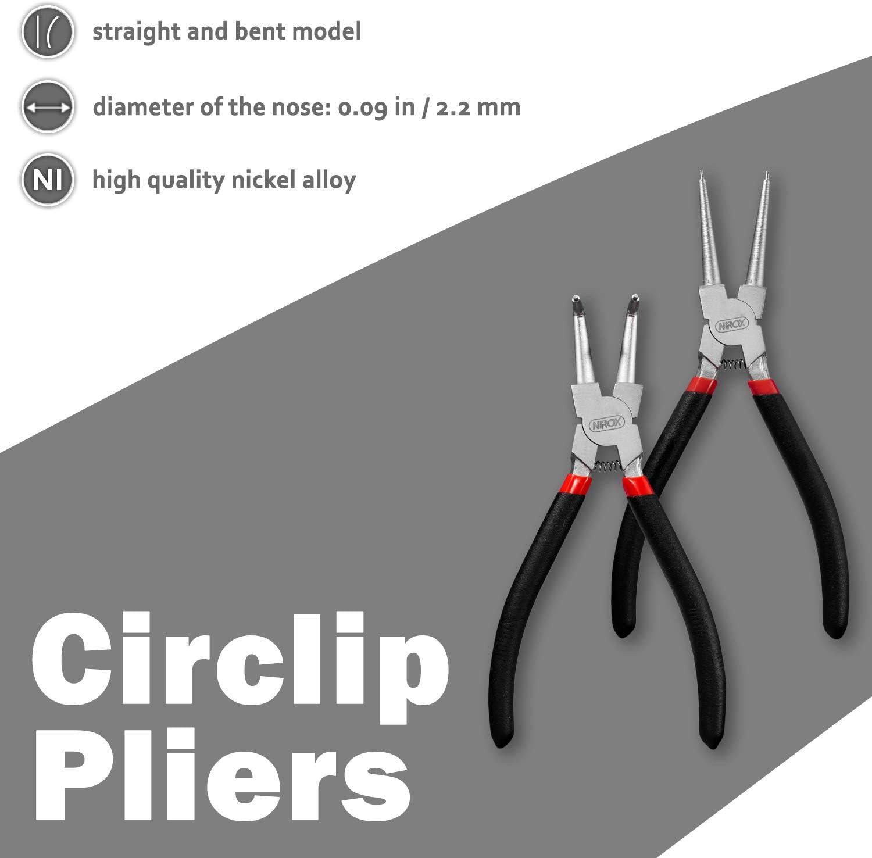 Nirox Juego de Alicates circlip para anillos de retención 225mm ...