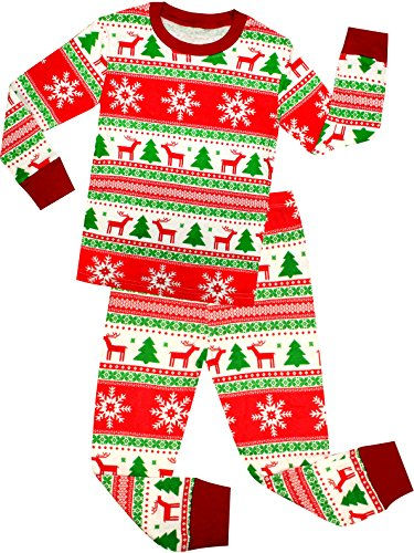 shelry Girls and Boys Santa Christmas Pajamas Children Cotton Clothes Kids Pjs Size 2 -
