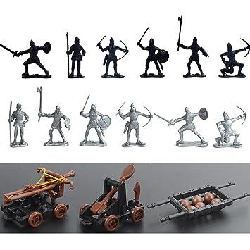 Modell Geschenk 28 Stück Mittelalter Ritter Pferde Soldaten Figuren