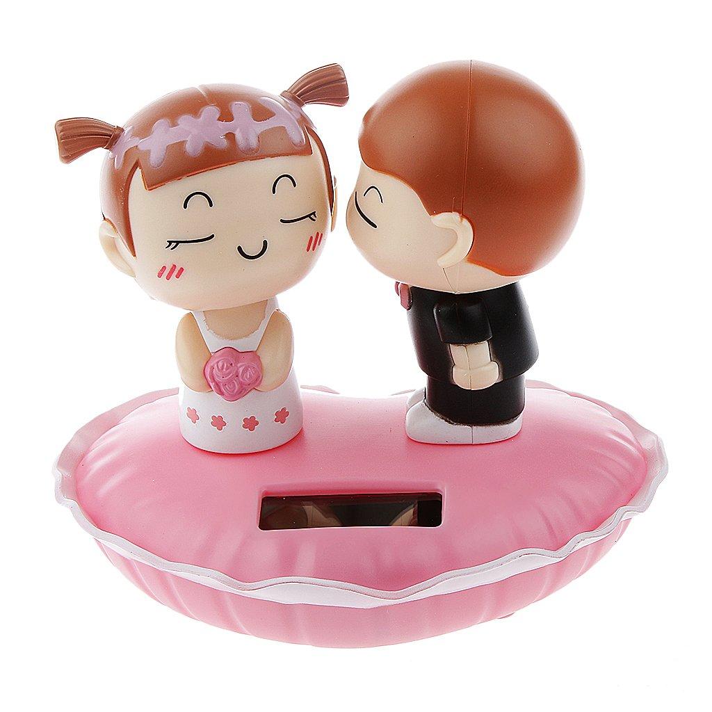 MagiDeal Mignon Figurine Balancier Solaire Jouet Danse Kissing Bébé Décoration Voiture Fenêtre Cadeau