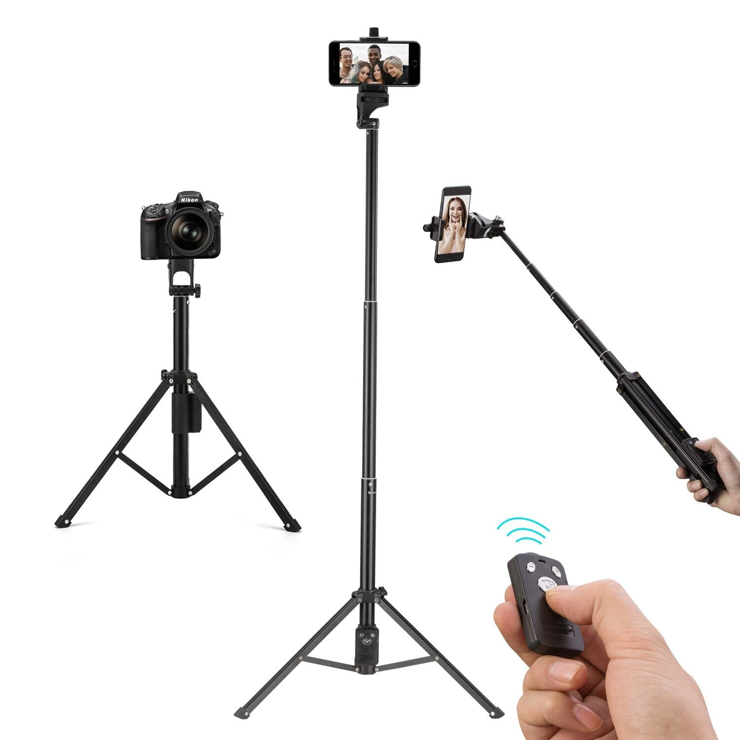 Eocean Selfie Stick Tripod, 54 Inch Adjustable I Phone Tripod, Extendable Camera Tripod For Cellphone And Camera, With Wireless Remote For I Phone 8/8 Plus/X/7/7 Plus/Galaxy/Google by Eocean
