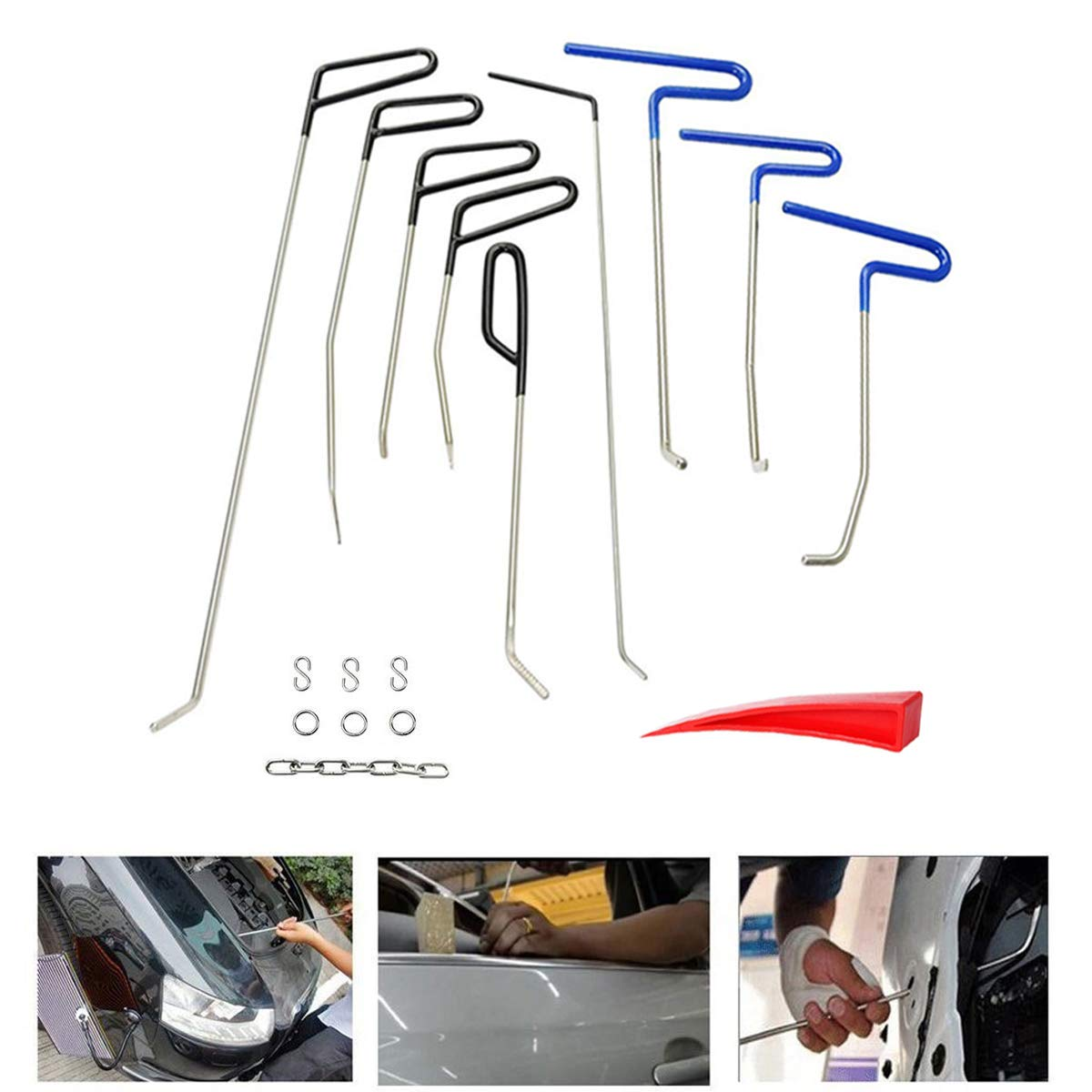 JMgist Dent Removal Rods Tools Kit PDR 17pcs Removal Paintless Car Dent Repair Rods Kit for Car Body Door Dings Hail Damage Repair