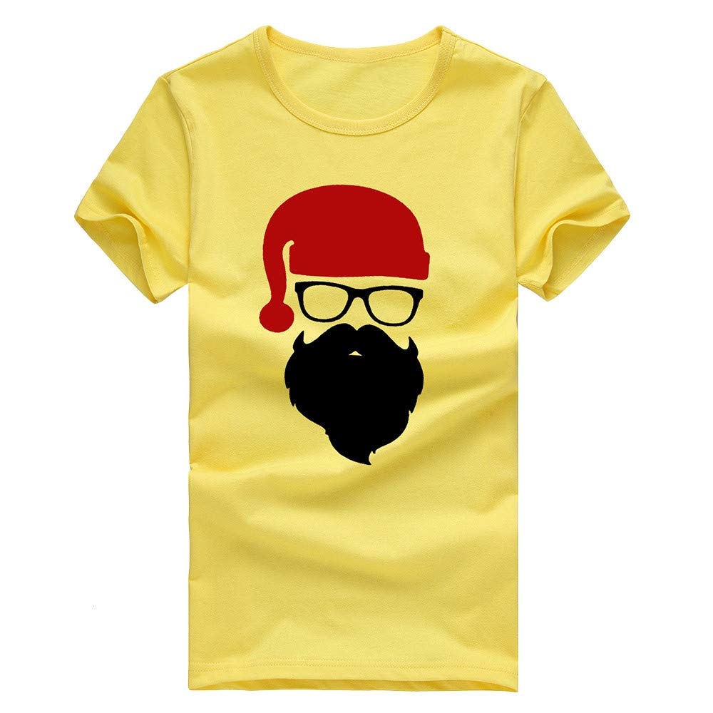 Fxbar,Fashion Men Tee Shirt Ugly Santa Printed Men's Short Blouse Novelty Tops(Yellow,XXL)