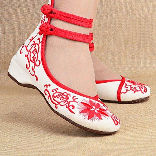 Scarpe Da Donna Cinesi Cheongsam Abbinate Scarpe Da Ballo Casual Rosse