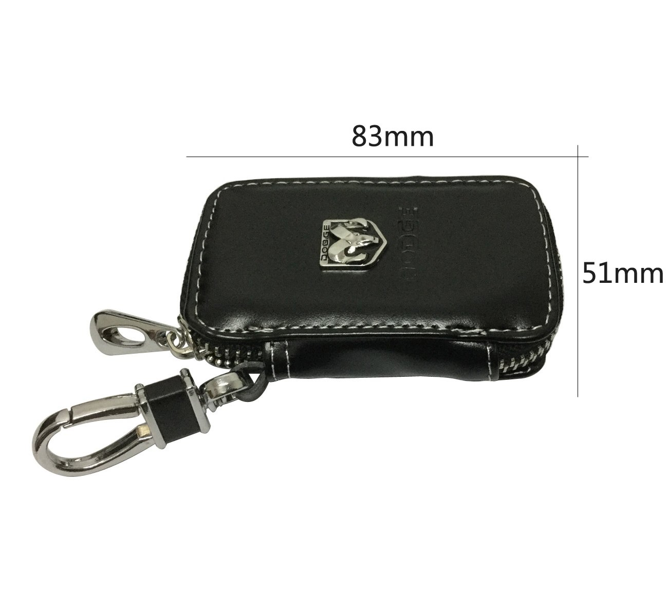 Cview New Car Key Wallet Zipper Case Black Leather Car House Office Key Chain Coin Holder Metal Hook Bag Collection For Dodge Car Vehicle Auto Lover