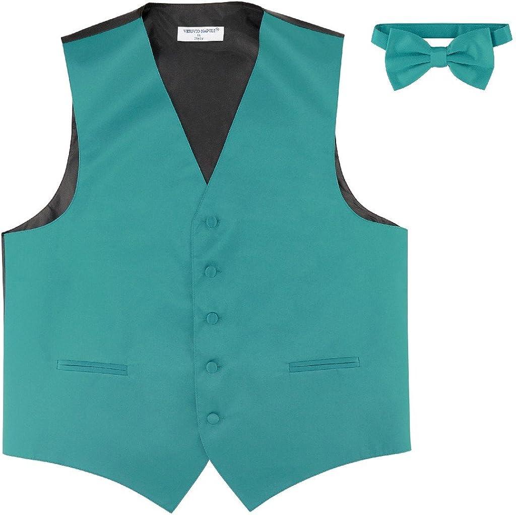 Men's Dress Vest & Bowtie Solid Teal Color Bow Tie Set for Suit or Tuxedo