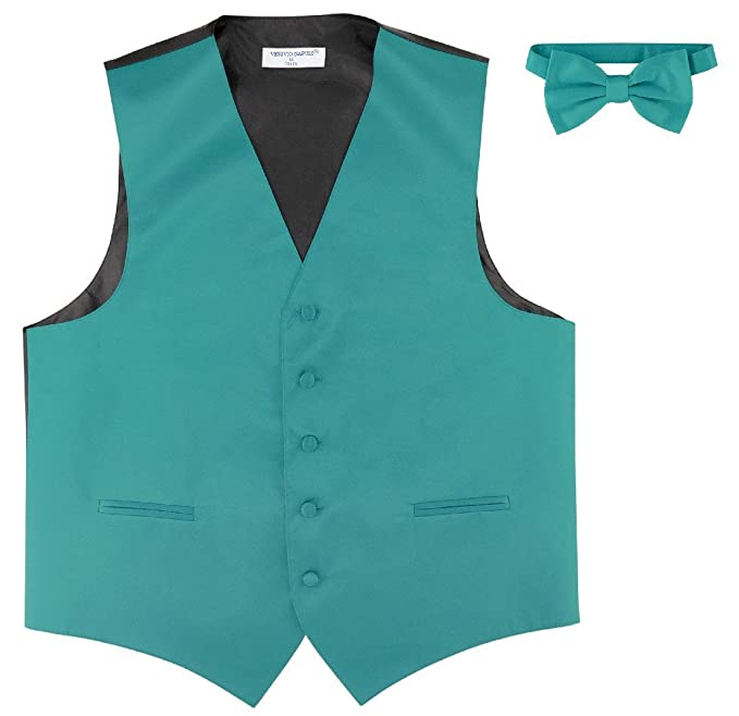 Amazon.com: Men s Vestido Chaleco & pajarita (Solid Teal ...