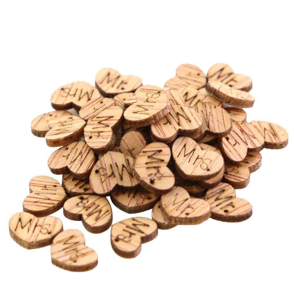 Yevison Premium Quality Wooden Heart Mr & Mrs Table Confetti Vintage Affair Rustic Wedding 100pcs