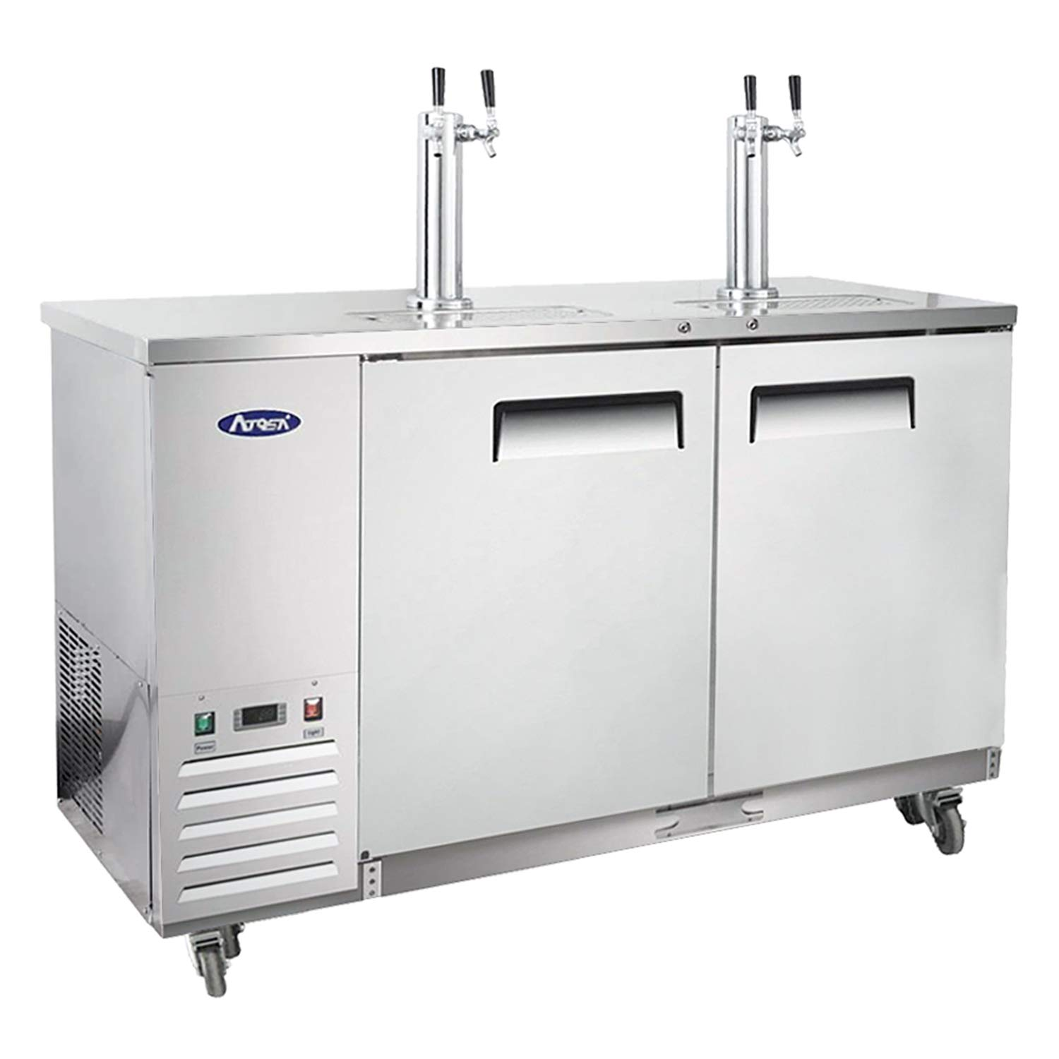 Kegerator Beer Dispenser with 2 Tap Towers, Atosa Commercial Keg Cooler Refrigerator, MKC58