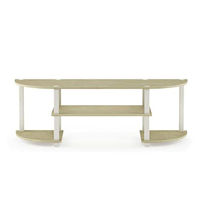 Furinno 11058CRM/WH Turn-S-Tube Entertainment Center, Cream Faux Marble/White
