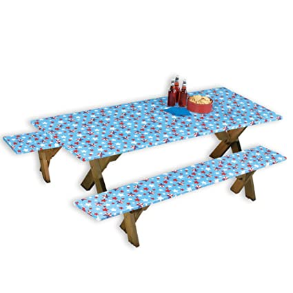 Amazoncom Collections Etc Americana WipeClean Pc Picnic Table - Outdoor picnic table covers