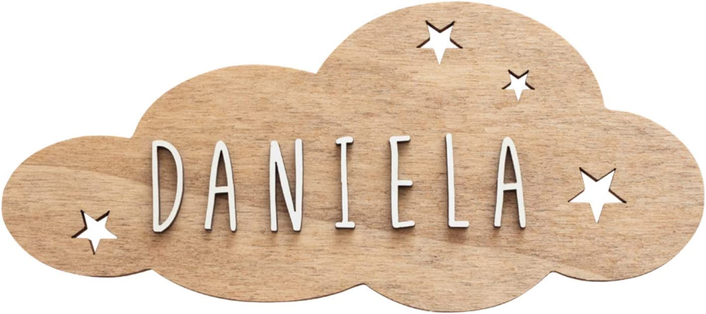 VINTIUN Placa Forma Nube Modelo Estrellas En Madera Con Kit De Letras Pegatinas de pared