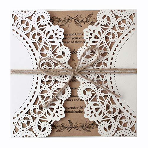 Picky Bride 50Pcs Rustic Wedding Invitations with Kraft Wedding Invite Cards Blank Laser Cut Wedding Invitations - Set of 50 pcs (Blank Wedding Invitations)]()