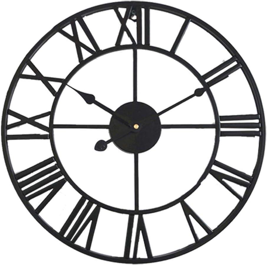 TOKTEKK Wall Clock European Retro Roman Numerals 16 inch Large Big Silent Non-Ticking Quartz Battery Operated Vintage Wall Clocks for Home Bedroom Living Room Kitchen Bar Cafe Farmhouse Decor(Black)