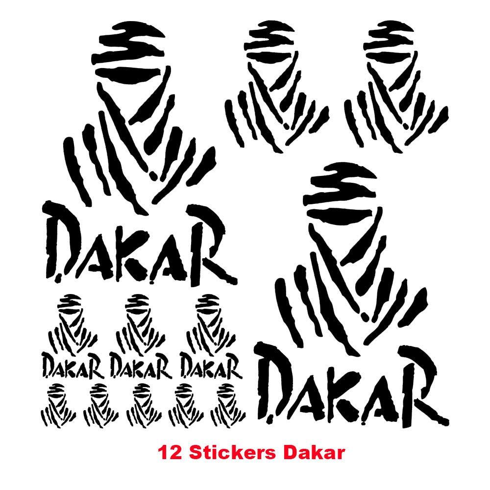 Luluda for dakar 12 stickers autocollants adhésifs moto auto voiture sponsor marques black trim decals amazon canada