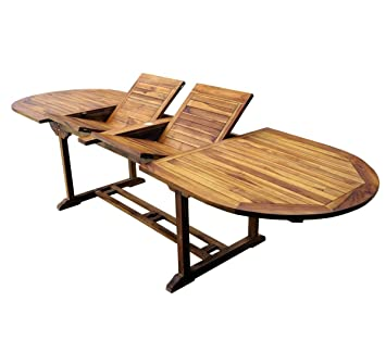 Wood-en-Stock Table de jardin en teck XXL 200-250-300 cm double ...