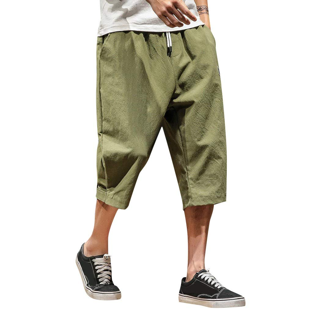 Sunmoot Clearance Sale Mens Linen Drawstring Shorts,Hip Hop Style Casual Loose Cropped Trousers Wide Leg Pants Army Green