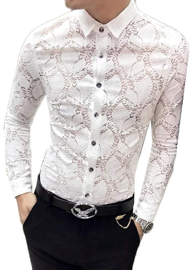 Wofupowga Mens Lace Long Sleeve Slim Fit Printed Button Front Shirts