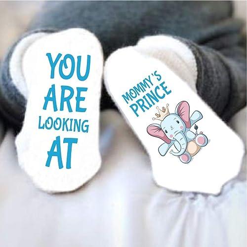534e0abee Amazon.com: Baby Shower Gift Boy Funny Socks Mommy's Little Prince Blue:  Handmade