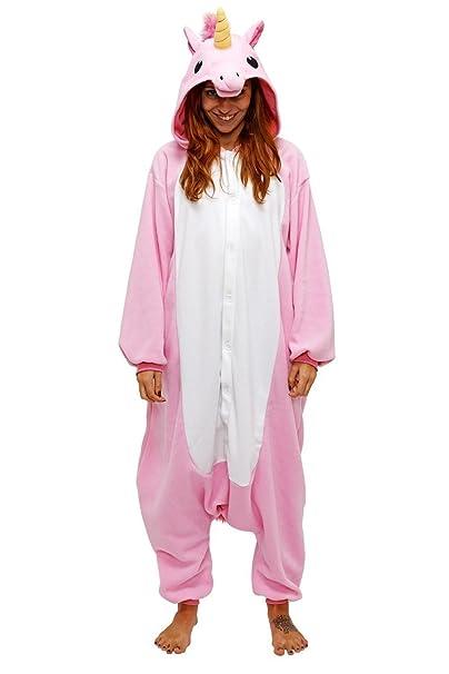 Dizoe Unicornio Pijama Adulto Animales Kigurumi Trajes Disfraz Halloween Cosplay Ropa De Dormir, Light Pink