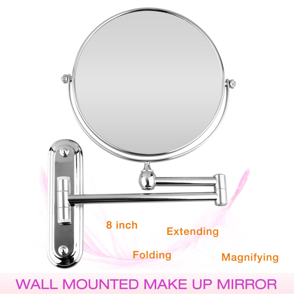 Amazon Floureon 8 Inches Double Sided Wall Mount Makeup Shaving Bathroom Mirror 5x Magnification Kitchen Dining