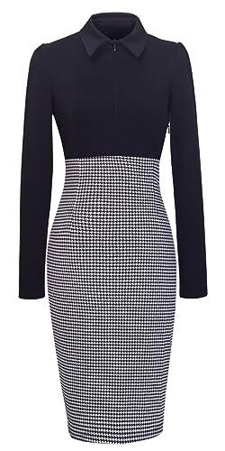 Homeyee® Women's Voguish Houndstooth Long Sleeve Career Pencil Dress B31
