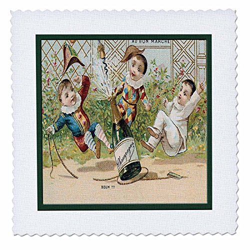 (3dRose qs_180196_4 French Champagne Bottle Popping Cork with Three Little Clowns Quilt Square, 12 by 12