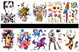 SPESTYLE 10pcs tattoo horse tattoos waterproof and non toxic real fake tattoos in 1 packages,including birds,woman,horse with flowers,lady,deer,lady,rose,deer,flowers,parrot,etc.