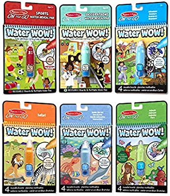 Melissa Doug On The Go Water Wow 6 Pack Sports Occupations Safari