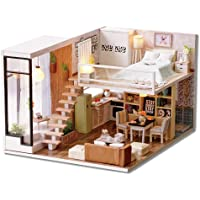 DIY Miniature Loft Dollhouse Kit Realistic Mini 3D Wooden House Room Toy with Furniture LED Lights Christmas Children's Day Birthday Gift