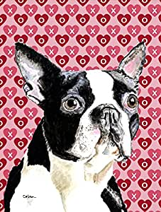 Caroline's Treasures SC9279CHF Boston Terrier Hearts Love and Valentine's Day Portrait Canvas House Flag