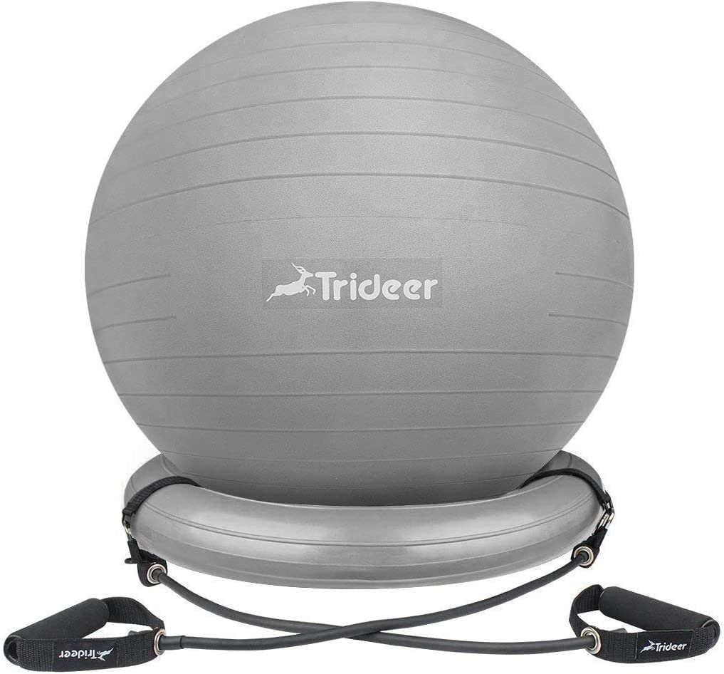 Trideer Ball Chair, Exercise Stability Yoga Ball with Base Resistance Bands for Home and Office Desk, Flexible Ball Seat with Pump, Improves Balance, Core Strength Posture