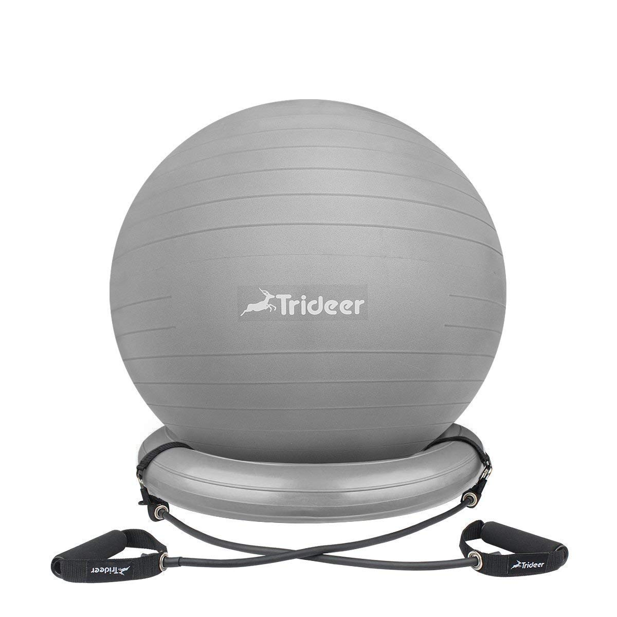 Trideer Ball Chair, Exercise Stability Yoga Ball with Base & Resistance Bands for Home and Office Desk, Flexible Ball Seat with Pump, Improves Balance, Core Strength & Posture (Silver, 75cm) by Trideer