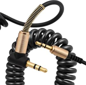 TEGAL 3.5mm Coiled Aux Audio Cable (1.5m/5ft, Hi-Fi Sound), 90 Degree Right Angle Male to Male Auxiliary Cord, Compatible for Beats, iPhone, iPod, iPad, Car, Home Stereo