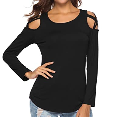 b71769a78bc00 HTHJSCO Womens Loose Strappy Cold Shoulder Tops Basic T Shirts, Long Sleeve Strappy  Cold Shoulder