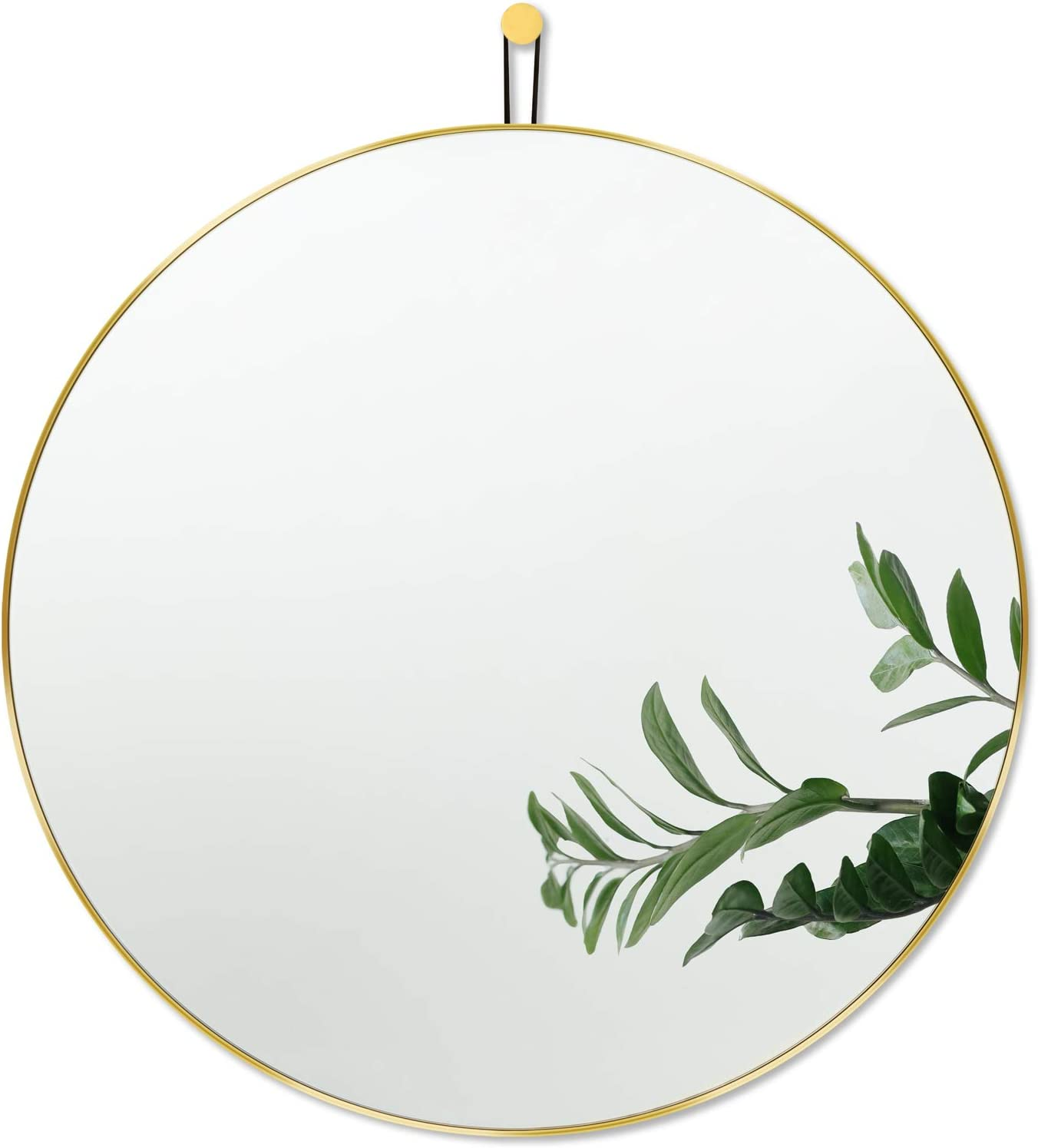 Harmati Round Mirror Circle Gold - Circular Mirror 24 Inch Metal Framed Wall Mounted, Hanging Brass Round Wall Mirror Modern Decorative for Bathroom, Living Room, Bedroom , Entryway