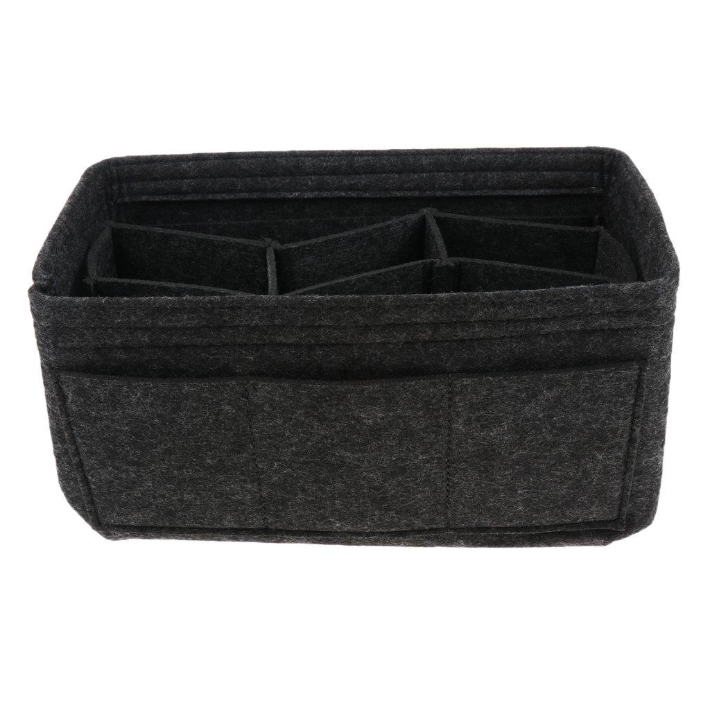 Prettyia Fabric Purse Organizer Insert for PurseTote Bag Cosmetic Makeup Diaper Handbag - Deep Gray, as described