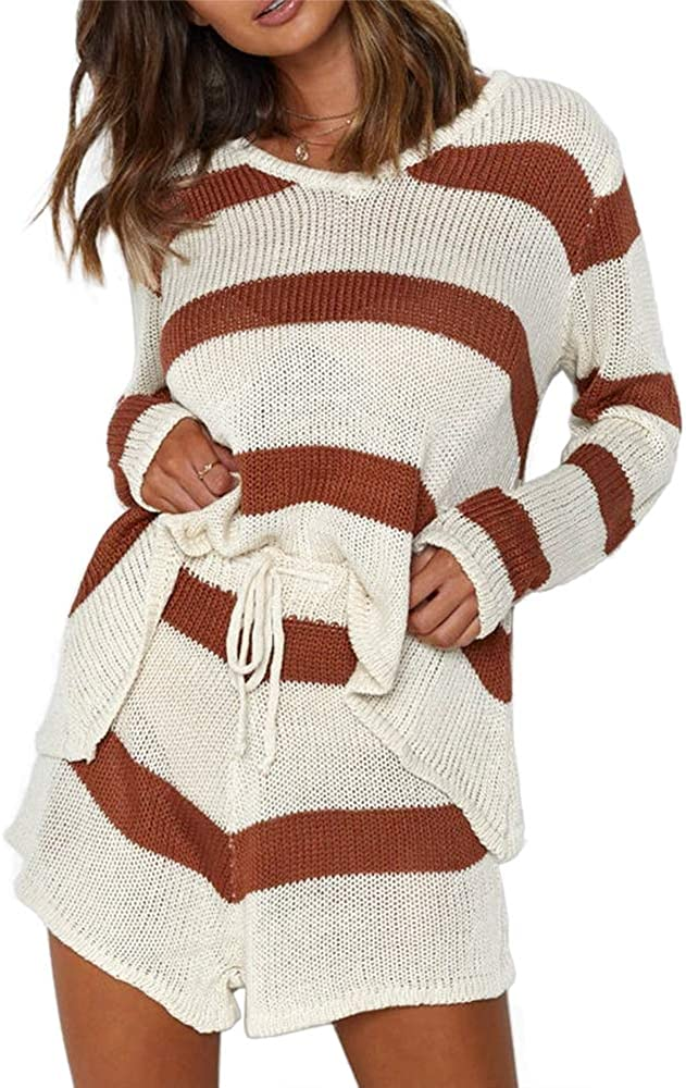 Women's Two Piece Outfits Sweater Long Sleeve Tops and Drawstring Shorts Striped Knit Sets