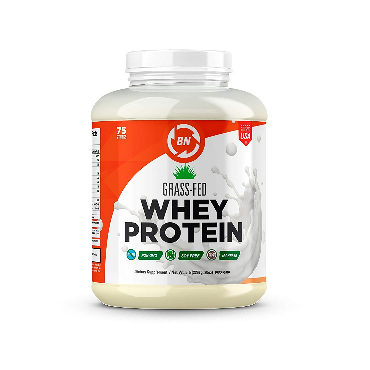 Grass Fed Whey Protein - 100% Pure, Natural & Raw - 24g High Protein - 5lb/75 Servings - Cold Processed Undenatured - Non-GMO - rBGH-Free - High Quality Wisconsin USA (5 lbs) by BN Labs