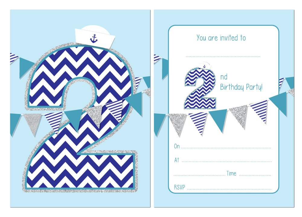 Second Birthday Party Invitations Boys Nautical Theme With Bunting 24 X A6 Postcard Size Cards With Envelopes