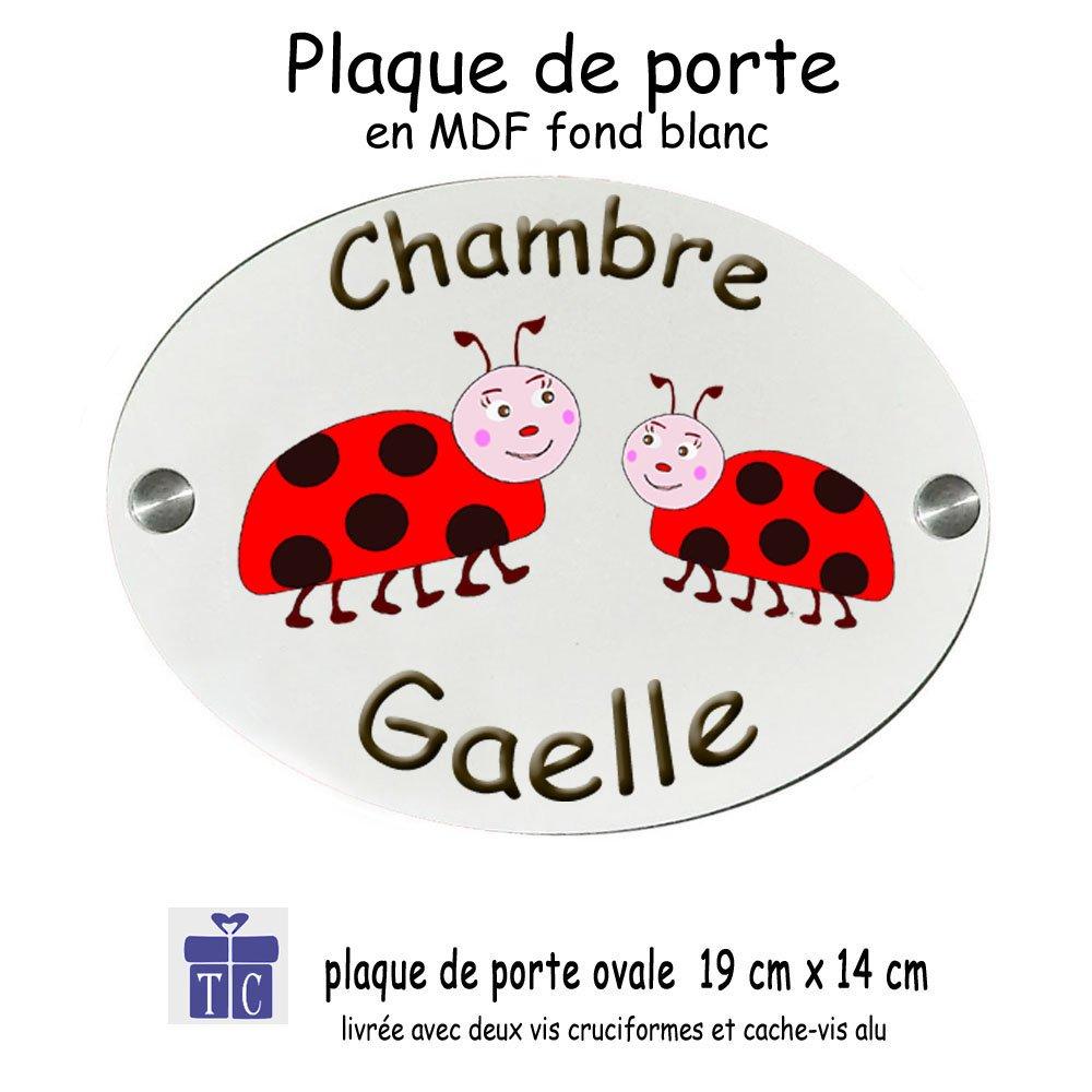 Plaque de Porte de Chambre Personnalisable Coccinelle avec un Pr/énom Exemple Gaelle