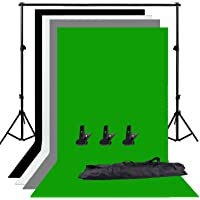 Abeststudio Photo Studio Adjustable Backdrop Support Stand Kit 1.6 x 3m Black/White / Green/Gray Backdrop Screen + 6.5ft x 6.5ft / 2m x 2m Background Support System + 3 Clamps+ Carry Bag