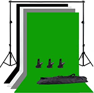 Abeststudio Photo Studio Adjustable Backdrop Support Stand Kit 1.6 x 3m Black/White/Green/Gray Backdrop Screen + 6.5ft x 6.5ft / 2m x 2m Background Support System + 3 Clamps+ Carry Bag