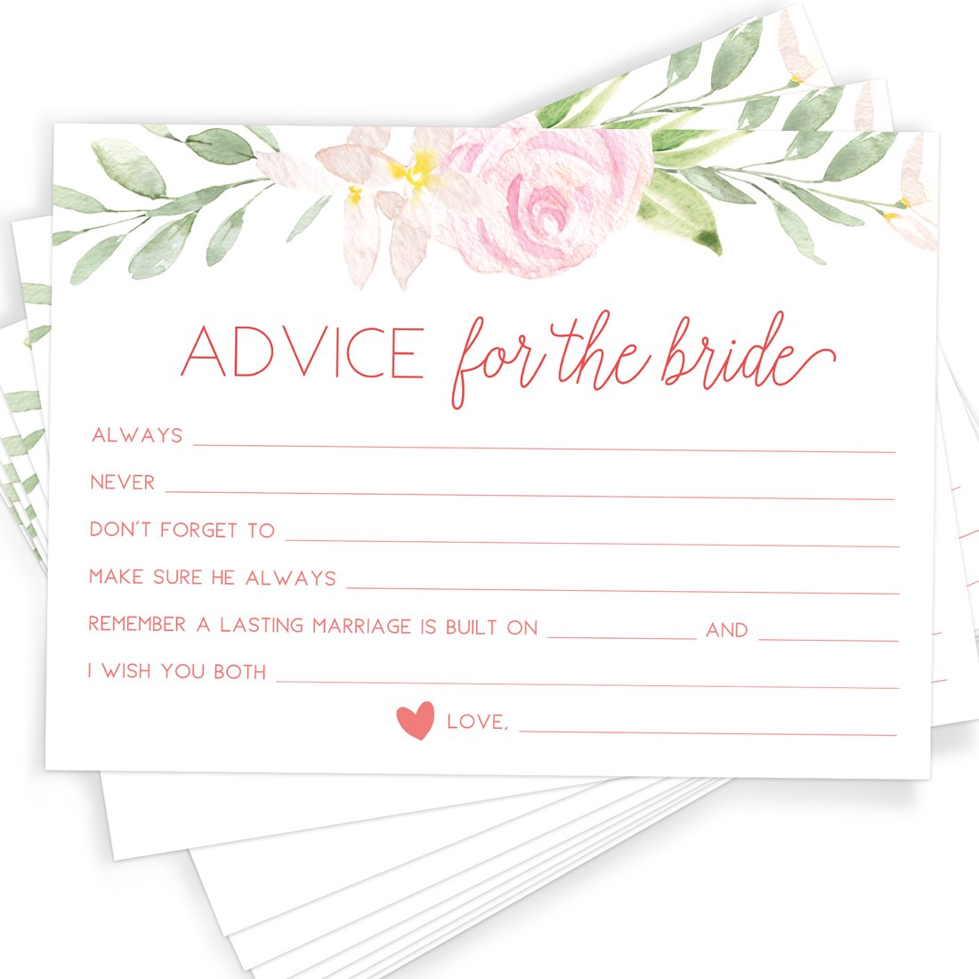 Printed Party Floral Bridal Shower Game | Advice Cards | Set of 50